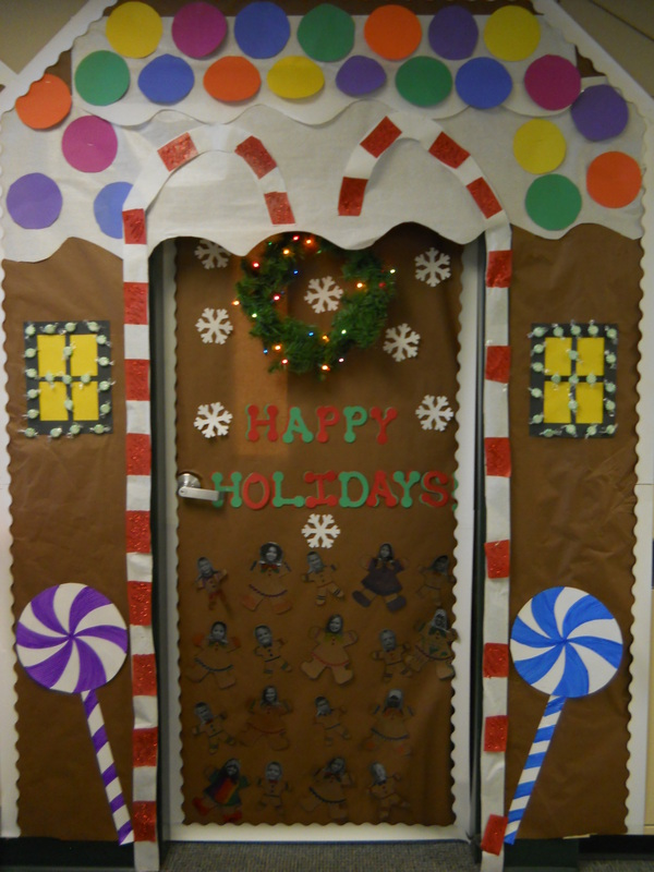 Take a look at our 2nd place door! We decided as a class to make the gingerbread house and believe it our not the kids did most of the work! & Our Classroom Door for School Decorating Contest!